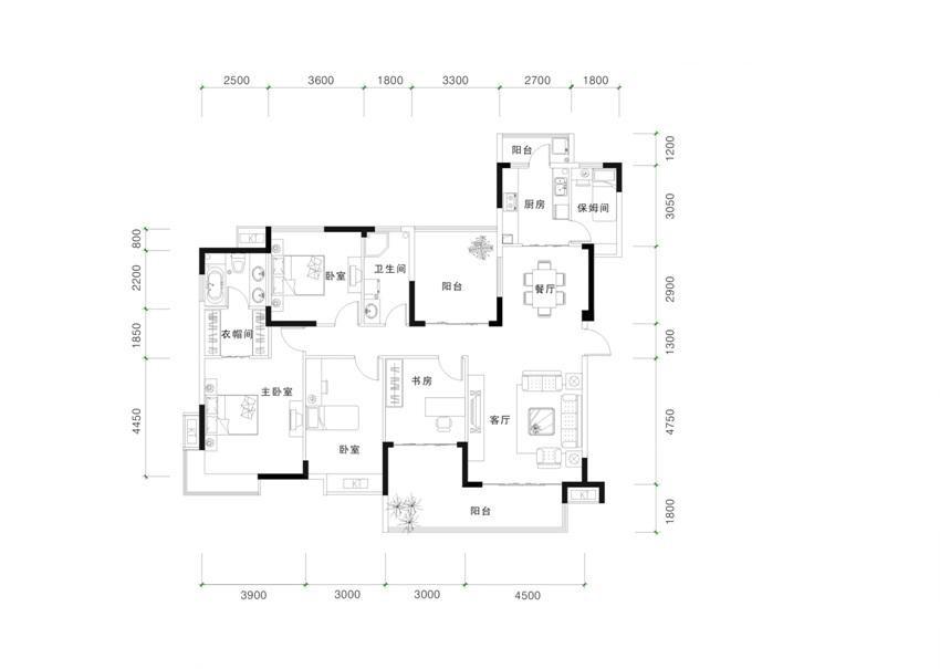 140平方五房2设计图