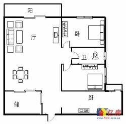 硚口区 汉正街 中御公馆 2室1厅1卫  92.98㎡
