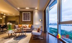 全景落地、江景尽收眼底、王牌户型+两房精装、配酒廊+私人游泳池