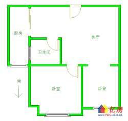 汉阳区 墨水湖 广电兰亭都荟 2室1厅1卫  55.15㎡