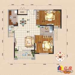汉阳区 墨水湖 龙阳1号 带15平米大露台 2室2厅1卫 91㎡