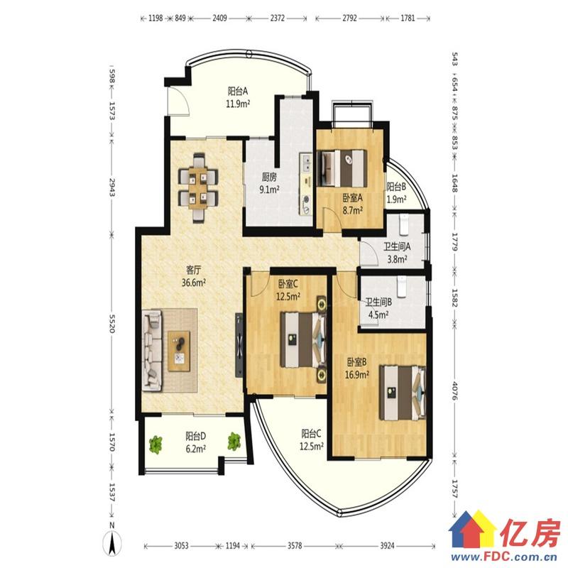 奥林匹克花园 3室2厅 南 北,武汉东西湖区金银湖金山大道环湖路二手房3室 - 亿房网