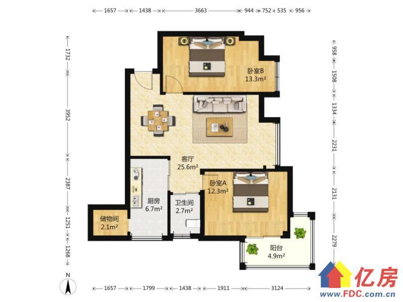 中间楼层 两证满两年 居家装修 带家具家电,武汉江汉区新华江汉区北湖西路97号二手房2室 - 亿房网