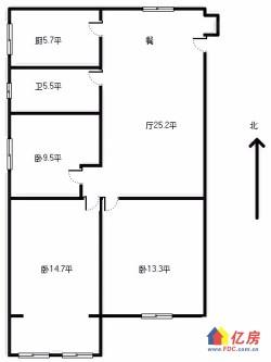 单价低急卖 江岸区 花桥竹叶山 田园小区 3室2厅1卫  101.45㎡ 3面采光 通透户型