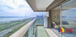 汉口二环内,270°一线江景房。中信泰富金融城精装修双南卧客厅看房方便