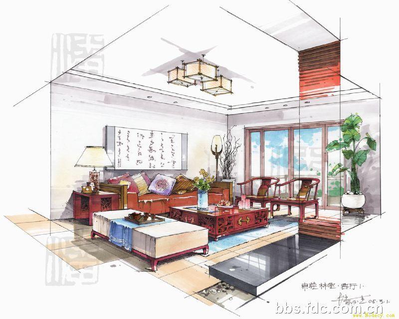 马克笔手绘效果图-潘俊杰2(图文)>>室内设计培训招生