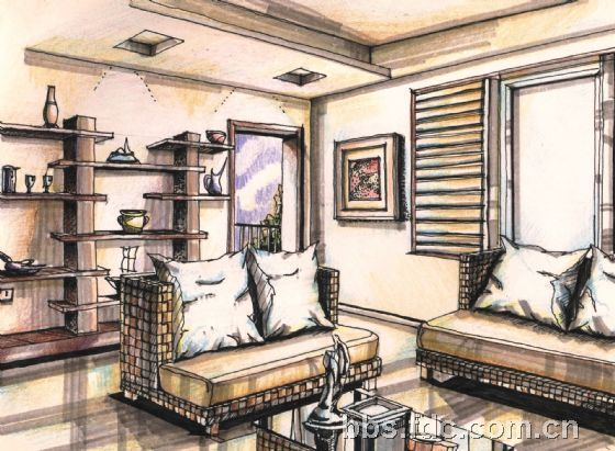 马克笔手绘的室内效果图