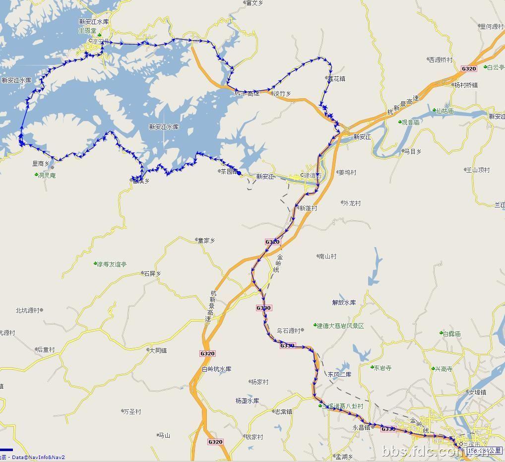 到淳安县中心(就是千岛湖自行车赛发车地)照了照,就以30码匀速沿s06