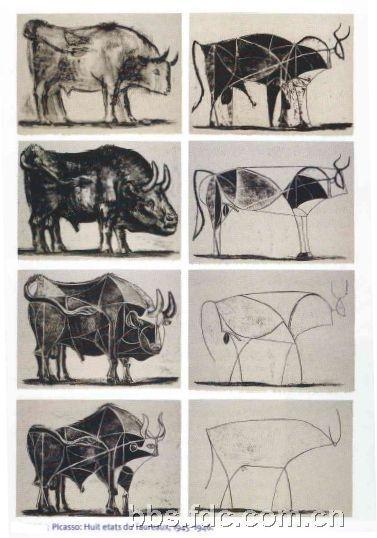 背景按:1945年12月5日,毕加索画了一组11张关于牛的画,这11张画从一张