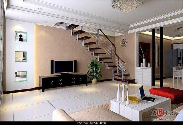 急求楼梯一侧当电视背景墙的装修效果图