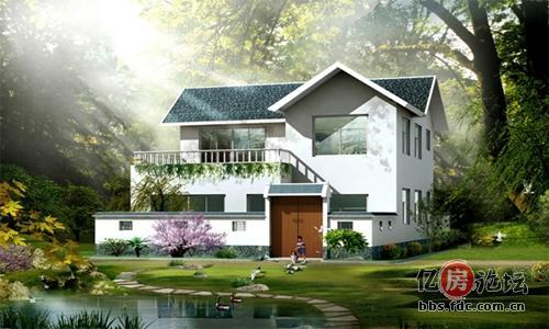 这座农村小别墅,房屋以中国庭院式结合欧式古典建筑