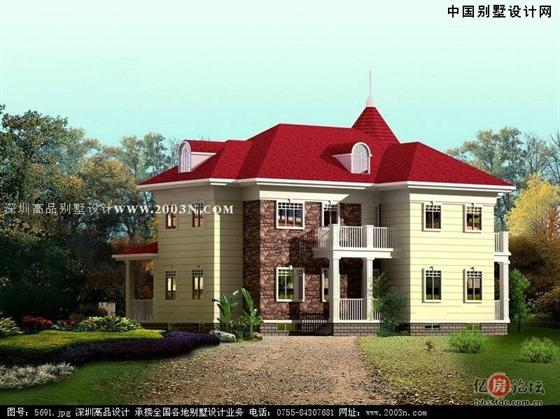 房屋以欧式风格为主,别墅的颜色以黄色