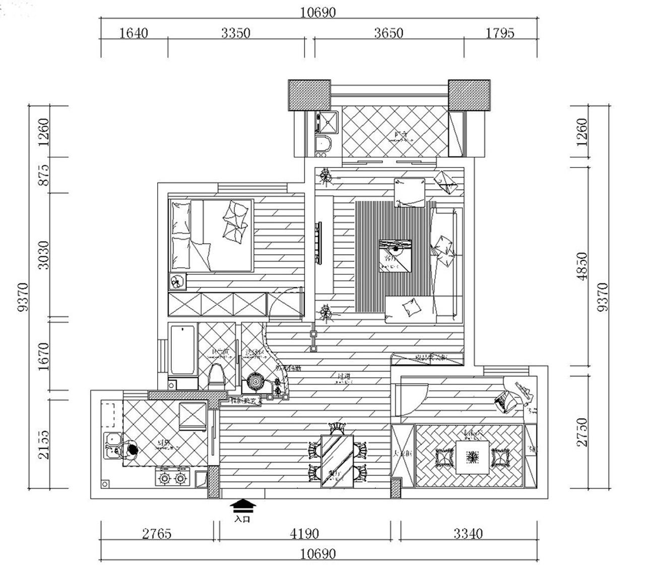 平面设计图   这个房子卫生间比较小,我又想放一个浴缸进去,于是