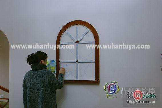 手绘墙----武汉手绘墙----凸雅作品---田园窗景 .