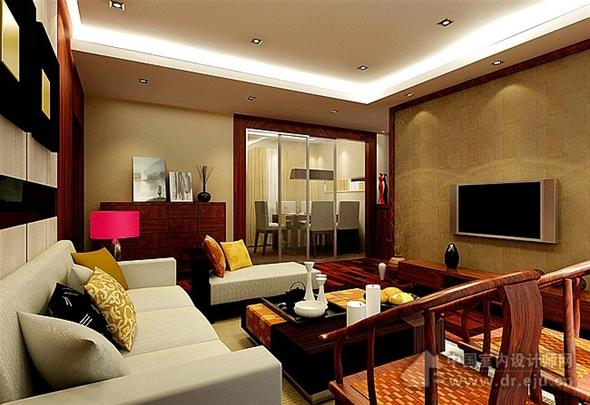 简约中式客厅装修效果图