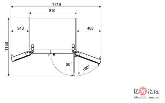 图二 冰箱安装尺寸示意图   jpg   图三 最小边距示意图