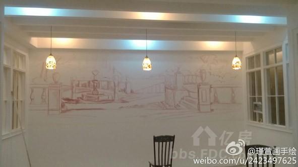 小清新浪漫情怀意大利系咖啡厅墙体彩绘