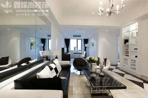 武汉室内装修时尚黑白灰勾勒现代简约三居室