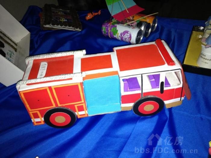 纸盒做的消防车