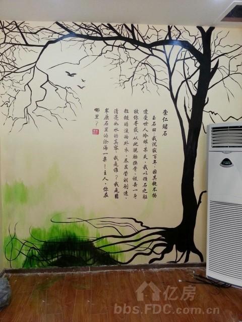 禅意莲花手绘墙