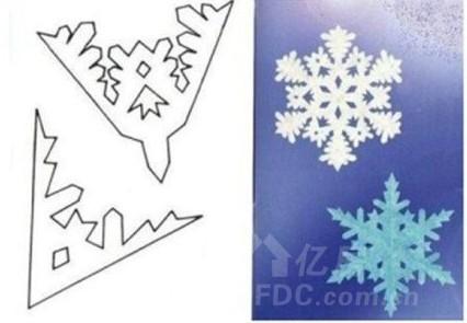 圣诞节时雪花剪纸怎么剪第十二步:再                    第十三步:这