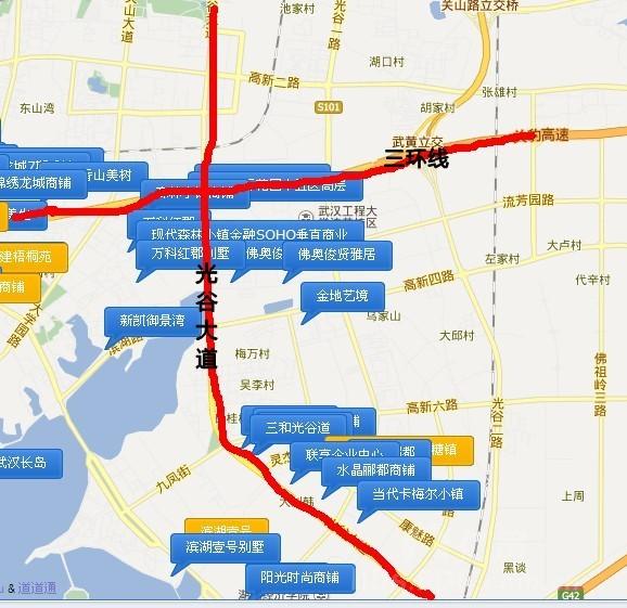 流芳大道,接驳绕城高速,是连接武汉光谷片区,关山片区,流芳片区的重