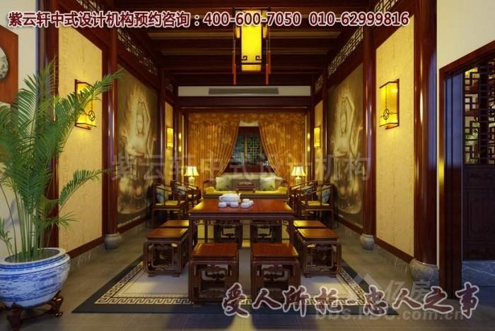 中式茶楼装修清韵自然,可爱的红锦鲤鱼在水中嬉闹,愉快人心,红