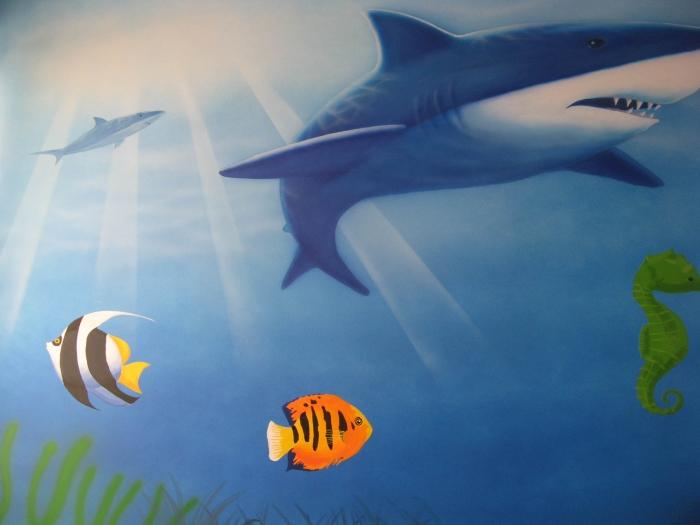 迷你海底世界带回家 烟台手绘墙 3d立体画 艺术壁纸