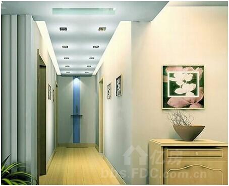 客厅进门玄关效果图:走廊吊顶装修效果图,顶面灯光设计是亮点-客