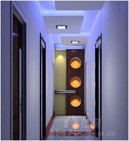 客厅进门玄关效果图:走廊吊顶装修效果图,光影与造型兼具.