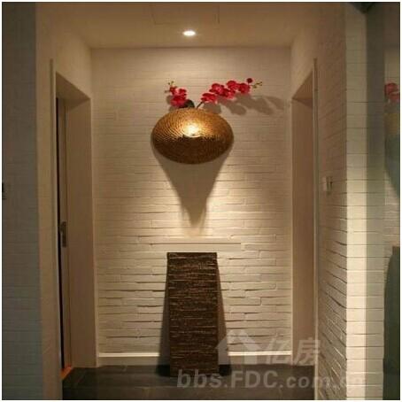 客厅进门玄关效果图:走廊吊顶装修效果图,很有原始味道的设计-客