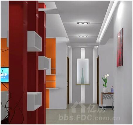 门玄关效果图:走廊吊顶装修效果图,造型很简约-客厅玄关装修效果