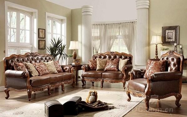 棕色-欧式豪华真皮沙发