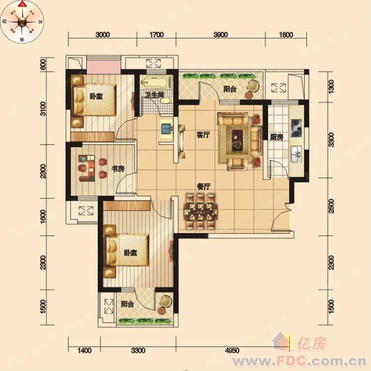 福星城大两室两厅 户型结构好 稀缺毛坯房 小区环境好