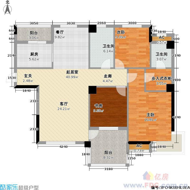 一梯两户100平米房屋平面设计图