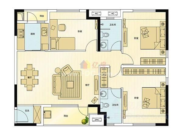 万科城一期 万科城户型3 3室2厅1卫 120.00㎡ -万科城户型图