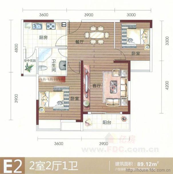 泰驰伊顿阳光二期 泰驰伊顿阳光二期e2户型 2室2厅1卫 89.12㎡