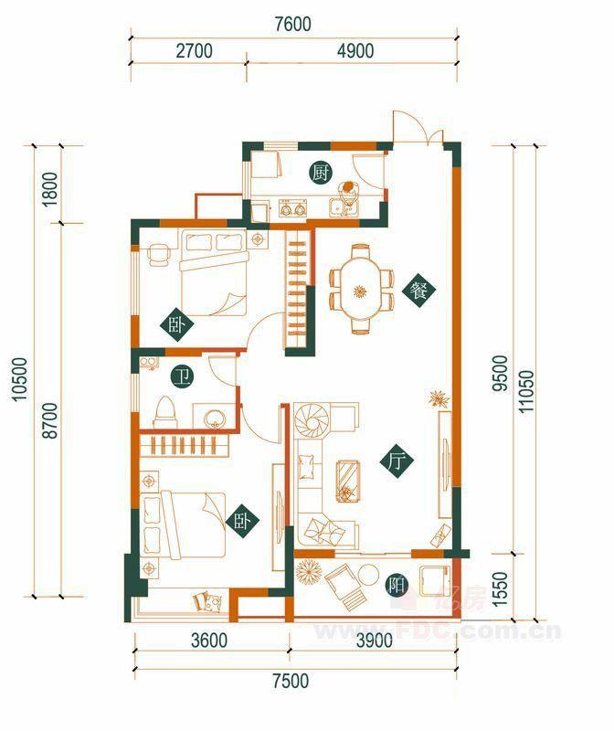 汉口湖畔一期 二期2b-3户型 2室2厅1卫 89.23㎡