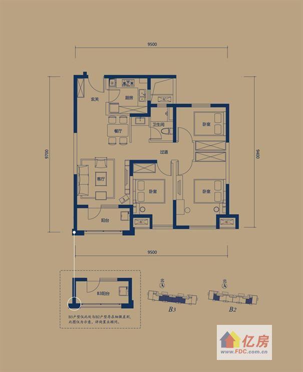 万科锦程一期 2号楼b2户型 3室2厅1卫 100.00㎡