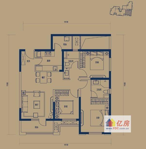 新房 东湖高新区 万科锦程  万科锦程二期 c4户型-3室2厅2卫-110.