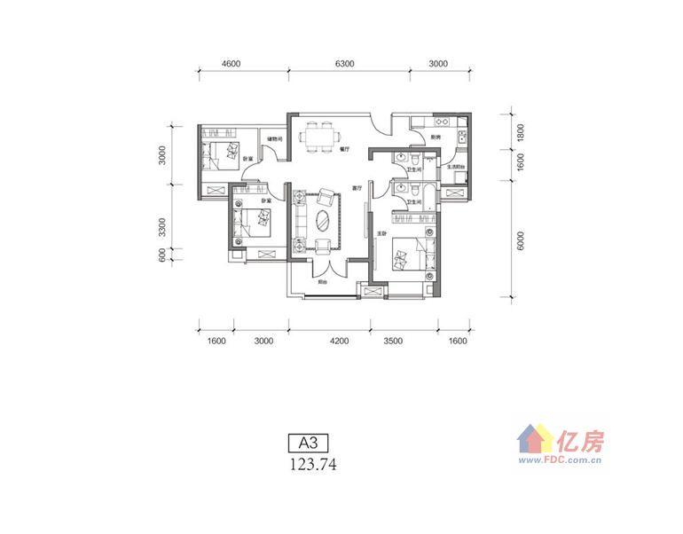 新房 武昌区 融侨城  融侨城二期 a3户型-3室2厅2卫-123.