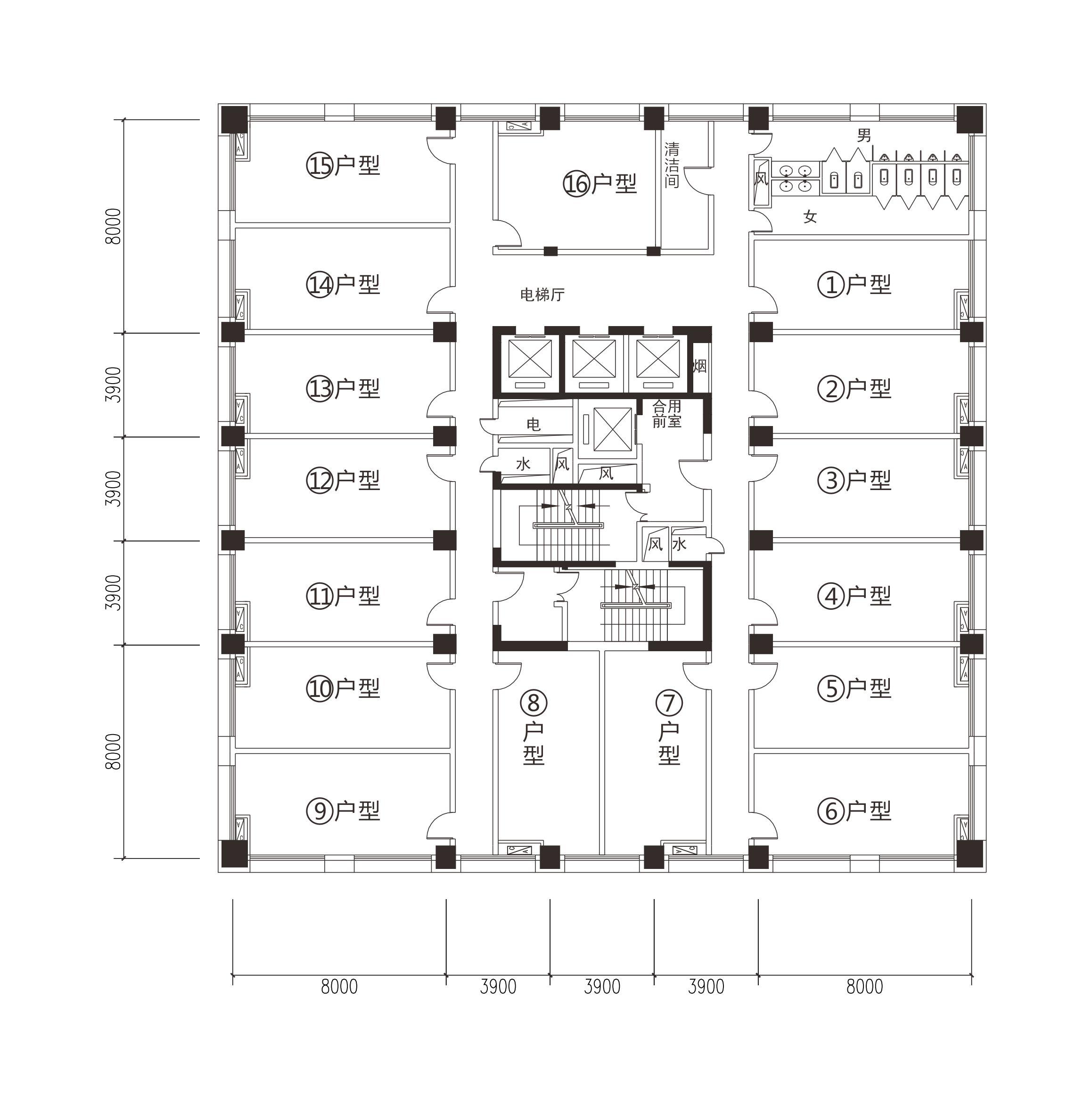 T1-A栋写字楼户型