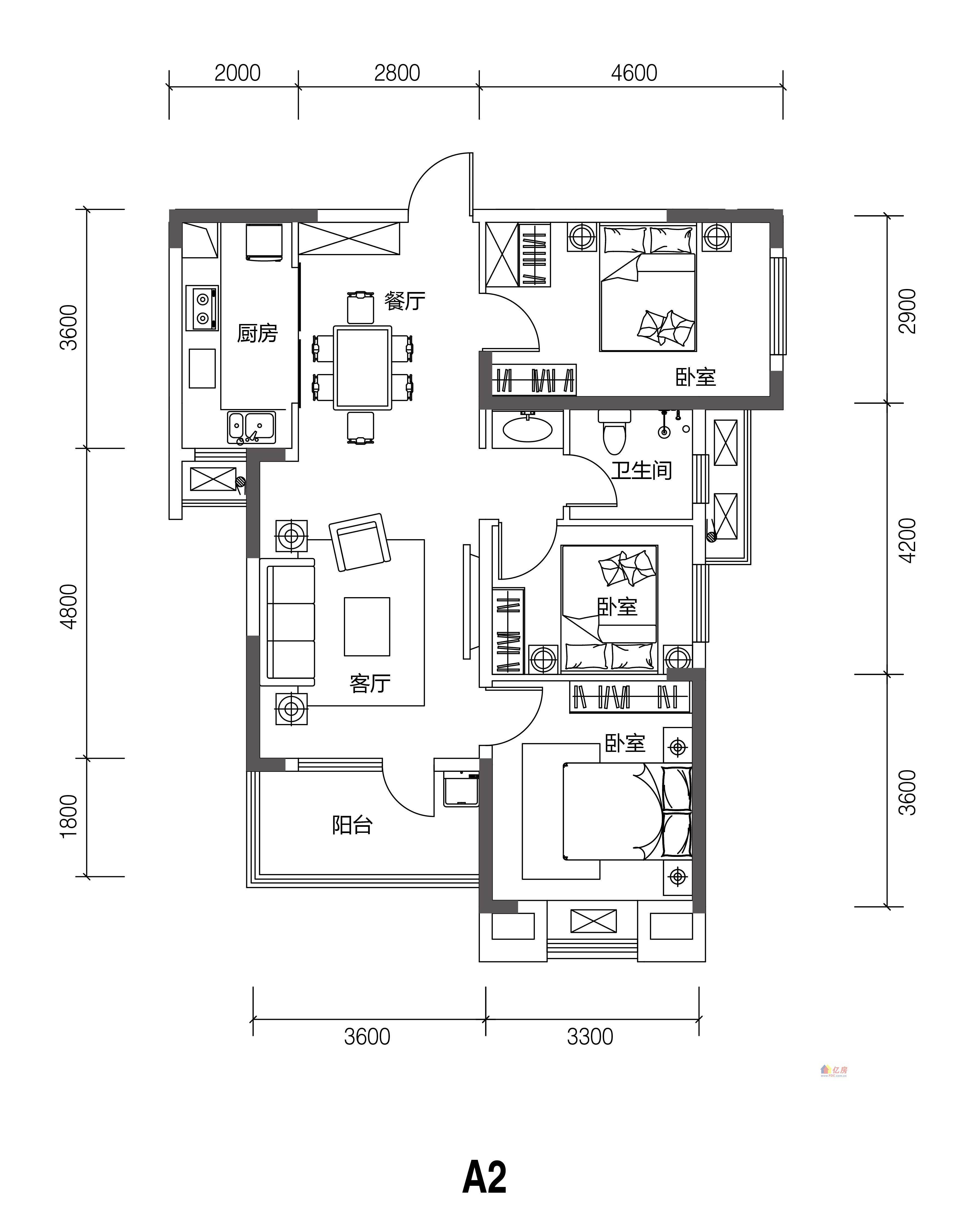天下左岸春天 t5户型-02 3室2厅1卫 98.00㎡