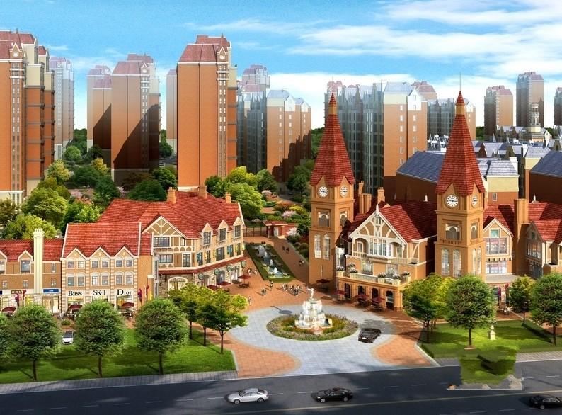 新华联青年城效果图小区入口鸟瞰图