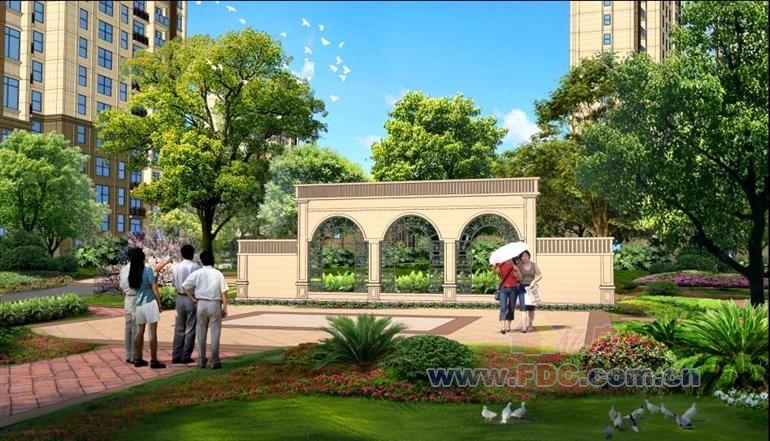 汉北大全景一期休闲花园效果图